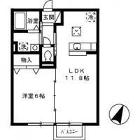 住吉 アパート 1LDK間取り図