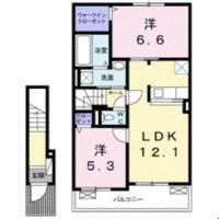 金沢 アパート 2LDK間取り図