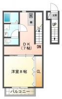 南島田町 アパート 1DK間取り図