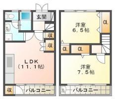中吉野町 アパート 2LDK間取り図