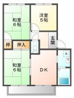 北矢三町 アパート 3DK間取り図