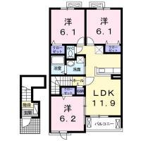 北沖洲 アパート 3LDK間取り図