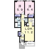 蔵本町 アパート 2LDK間取り図