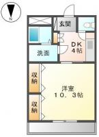 吉野本町1丁目 マンション 1DK間取り図