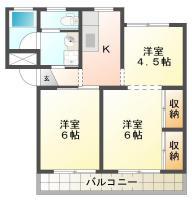北田宮 マンション 3K間取り図