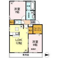 東吉野町3丁目 アパート 2LDK間取り図