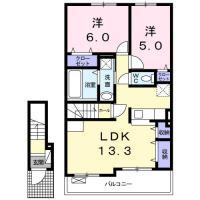 蔵本元町 アパート 2LDK間取り図
