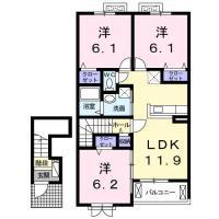 南沖洲 アパート 3LDK間取り図