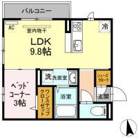南佐古七番町 アパート 1LDK間取り図