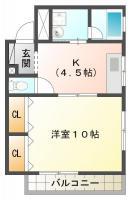東吉野町 マンション 1DK間取り図