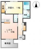 南昭和町 アパート 1LDK間取り図