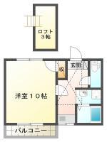北田宮 アパート 1DK間取り図