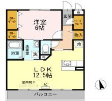 北田宮 マンション 1LDK間取り図