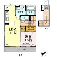 金沢2丁目 アパート 1LDK間取り図