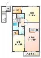 北沖洲 アパート 2LDK間取り図