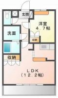 中島田町 アパート 1LDK間取り図