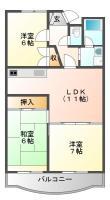北佐古一番町 マンション 3LDK間取り図