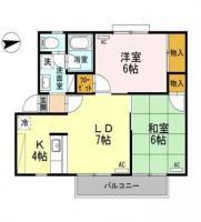 南田宮1丁目 アパート 2LDK間取り図