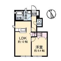 北沖洲 アパート 1LDK間取り図