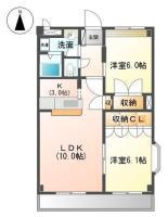 中吉野町 マンション 2LDK間取り図