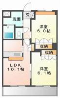 中島田町 アパート 2LDK間取り図