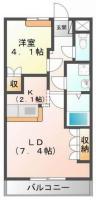 名東町 アパート 1LDK 101間取り図