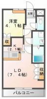 名東町 アパート 1LDK 105間取り図