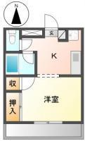 明神町 アパート 1K間取り図