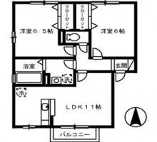 南島田町 アパート 2LDK間取り図