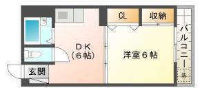名東町 マンション 1DK間取り図