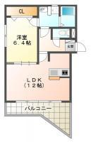 南島田町 マンション 1LDK間取り図