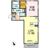 新南福島 マンション 1LDK間取り図
