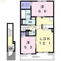 国府町南岩延字西野 アパート 2LDK 205間取り図