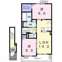 南島田町 アパート 2LDK 202間取り図