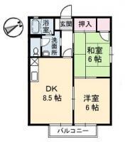 八万町川南 アパート 2DK 121間取り図
