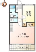 南矢三町 アパート 2DK 102間取り図