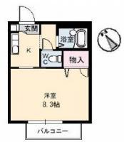 安宅 アパート 1K 106間取り図