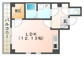 蔵本元町 マンション 1K 303間取り図
