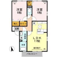北矢三町 アパート 2LDK 2-102間取り図