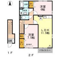 北田宮 アパート 2LDK B202間取り図