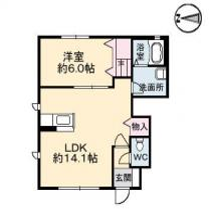 北田宮2丁目 アパート 1LDK A101間取り図