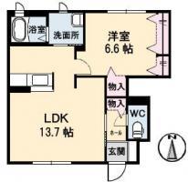 南庄町 アパート 1LDK 101間取り図