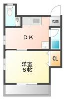 佐古三番町 アパート 1DK 202間取り図