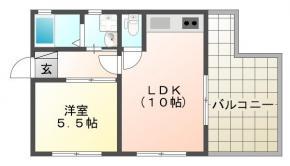 応神町古川戎子野 アパート 1LDK 3F間取り図