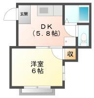 南田宮 アパート 1DK 202間取り図