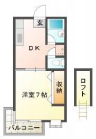 中吉野町 マンション 1DK 102間取り図