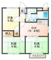 南佐古三番町 アパート 3DK 101間取り図