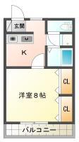 南昭和町 マンション 1DK 307間取り図