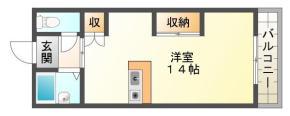 南田宮 マンション 1DK 206間取り図