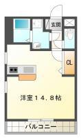 蔵本元町 マンション 1K 201間取り図